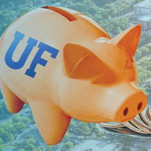 Graphic of piggy bank with UF logo on it