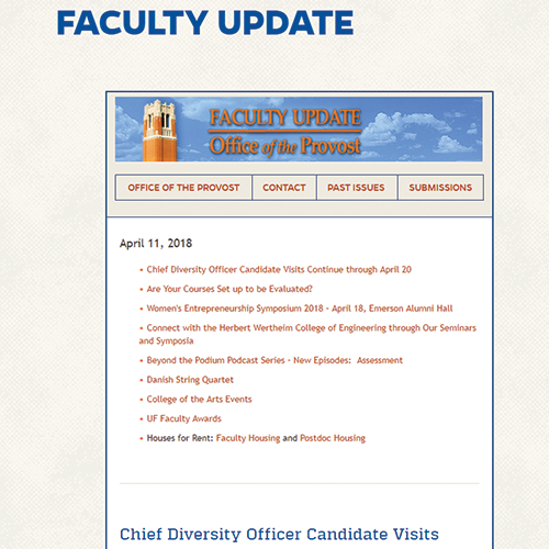 Screen capture of the latest faculty update email