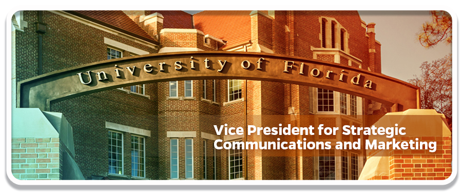 Photo of uf building with VP for Strategic Communications and Marketing written on it