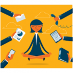Cartoon of someone meditating while hands throw different communications devices in her face