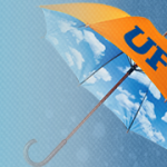 orange umbrella with uf in blue on it
