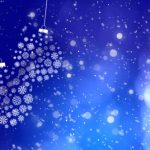 blue holiday background with lights